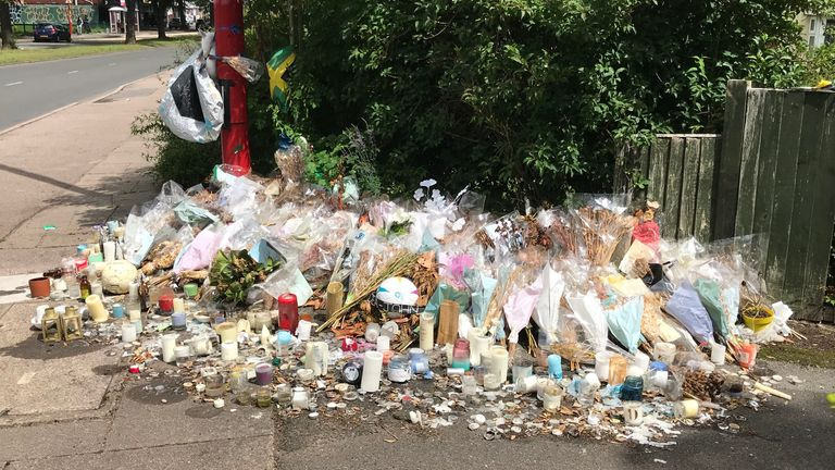 Flowers cover the scene where Dea-John Reid was stabbed in Kingstanding