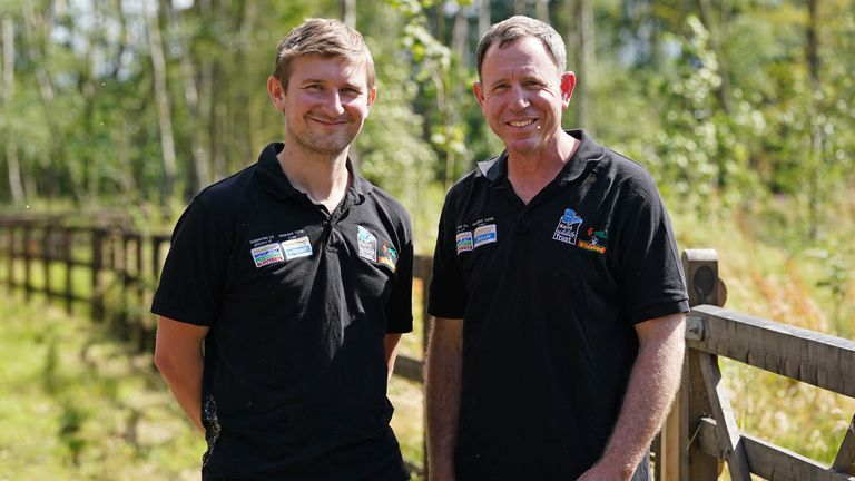Tom Gibbs (L) and Donovan Wright, are the UK's first-ever bison rangers