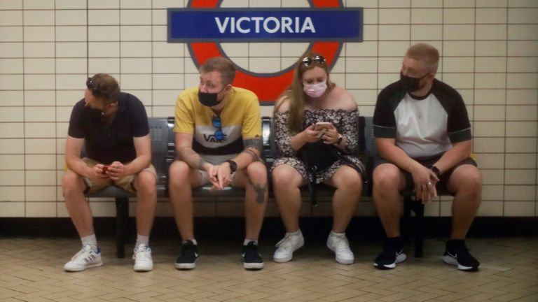 People wear face masks while waiting for subway at Victoria Station in London, United Kingdom on June 23, 2021, amid a pandemic of the new coronavirus COVID-19.  ( The Yomiuri Shimbun via AP Images )