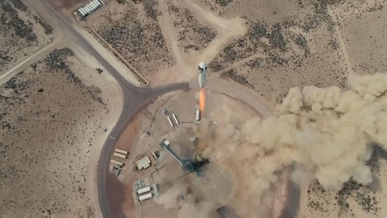 A New Shepard test flight. Pic: Blue Origin/AP