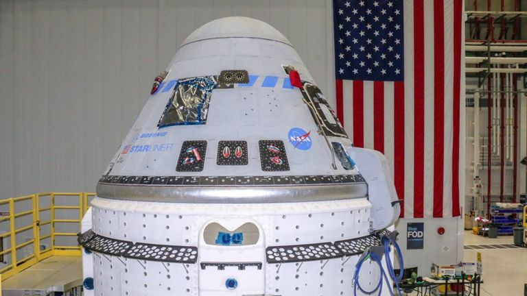 Undated handout photo issued by NASA of the Boeing CST-100 Starliner spacecraft at the Kennedy Space Center in Florida. Aerospace giant Boeing is set to attempt its second uncrewed flight to the International Space Station (ISS) as part of a test to show it can get to and from the orbiting lab safely. Issue date: Monday July 26, 2021.