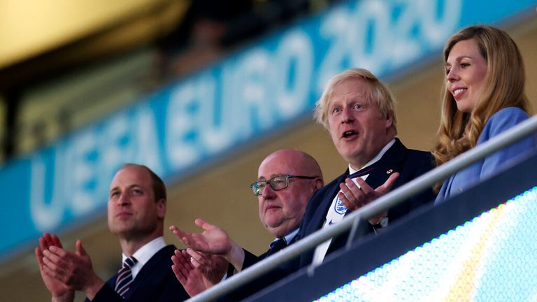 The prime minister and his wife were at Wembley, as was Prince William. Pic: AP