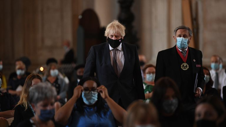 Prime Minister Boris Johnson arrives for the NHS service of commemoration and thanksgiving to mark the 73rd birthday of the NHS at St Paul's Cathedral, London. Picture date: Monday July 5, 2021.