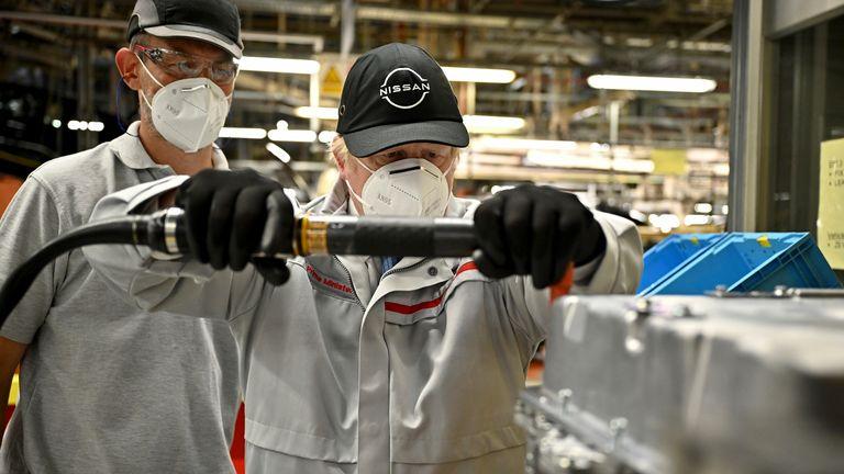 Boris Johnson visits the Nissan plant in Sunderland