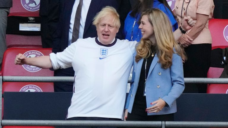 Boris Johnson and his wife Carrie were in the Wembley crowd