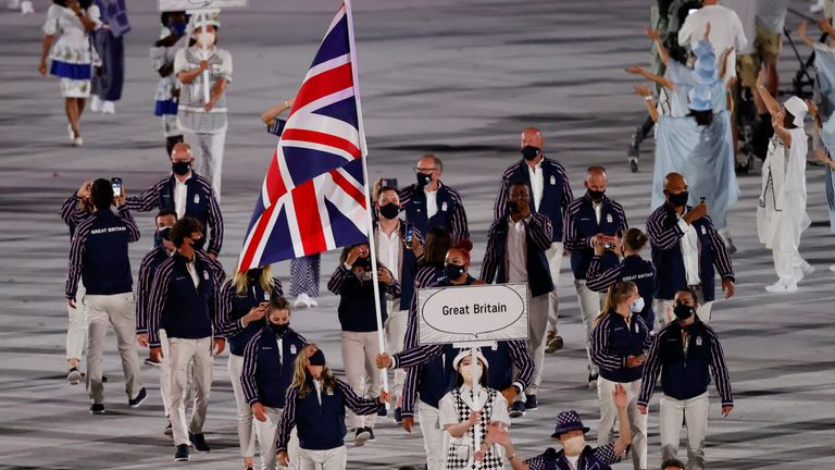 Members of Britain's contingent during opening ceremony