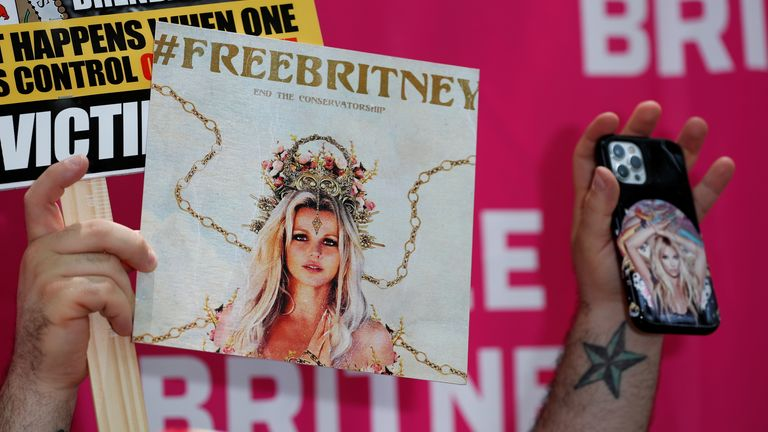 A protest in support of pop star Britney Spears on the day of a conservatorship case hearing at Stanley Mosk Courthouse in Los Angeles