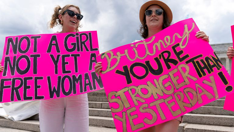 Fans and supporters of pop star Britney Spears protest at the Lincoln Memorial in Washington during a #FreeBritney rally on 14 July, as a court hearing on her conservatorship is held in LA. Pic: AP