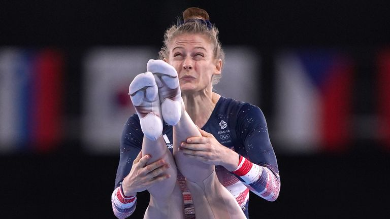 Great Britain's Bryony Page in action during the Women's Trampoline Gymnastics