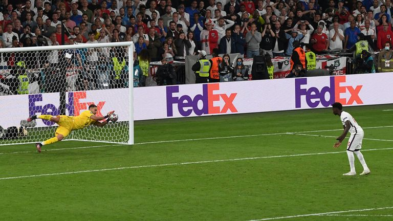 Saka's penalty is saved by Italy's goalkeeper Gianluigi Donnarumma