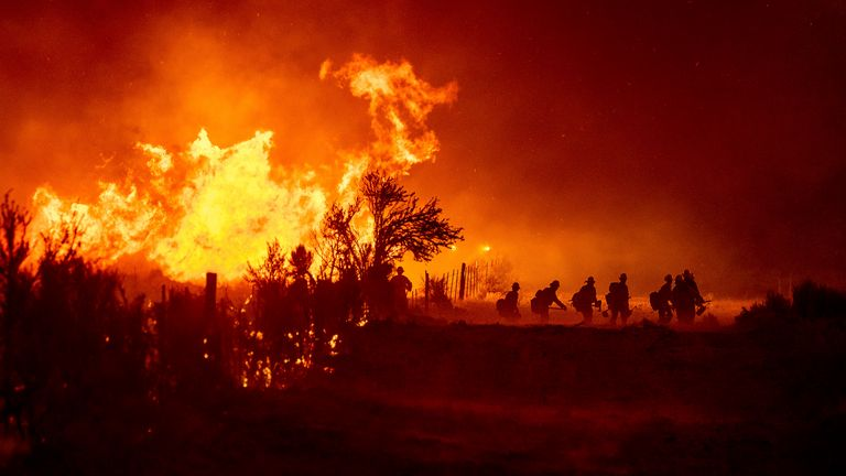 Firefighters battle part of the Beckwourth Complex Fire, in Doyle, California. Pic: AP
