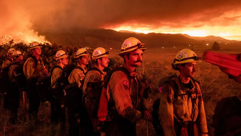 Firefighters involved in the battle to tackle the Beckwourth Complex Fire in California
