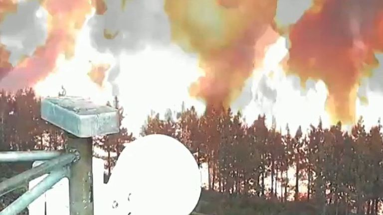 Wildfire creeps up to camera in California