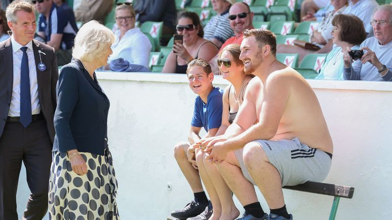 Camilla didn't step in any dung but did bump into a shirtless man at the show in North Yorkshire