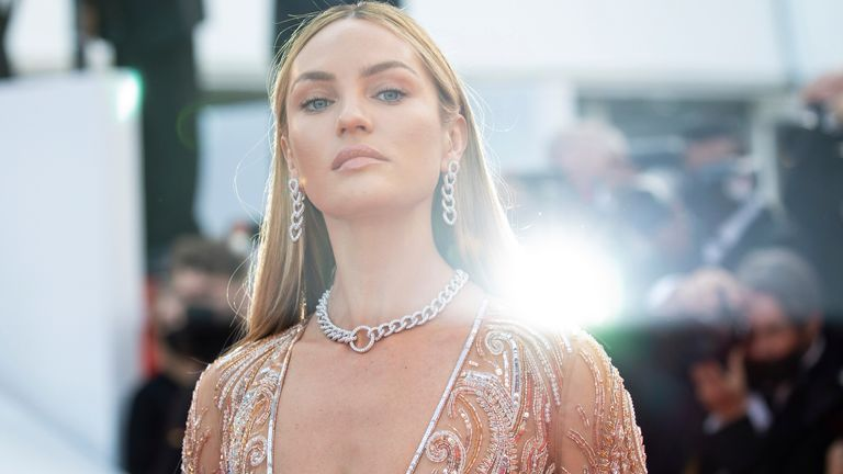 Candice Swanepoel poses for photographers upon arrival at the premiere of the film 'Annette' and the opening ceremony of the 74th international film festival, Cannes, southern France, Tuesday, July 6, 2021. Pic: Vianney Le Caer/Invision/AP