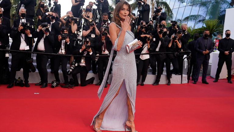 Carla Bruni at the opening night of the Cannes Film Festival in July 2021. Pic: AP