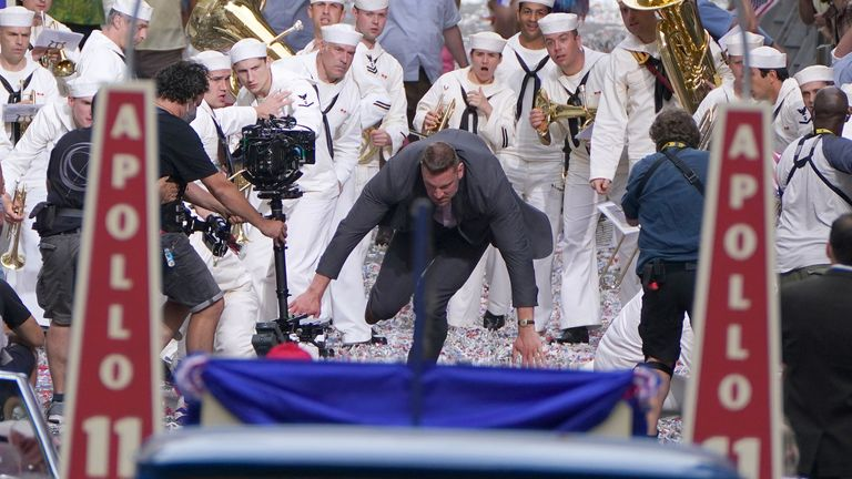 Cast member falls to the ground during filming on the new Indiana Jones movie in Glasgow