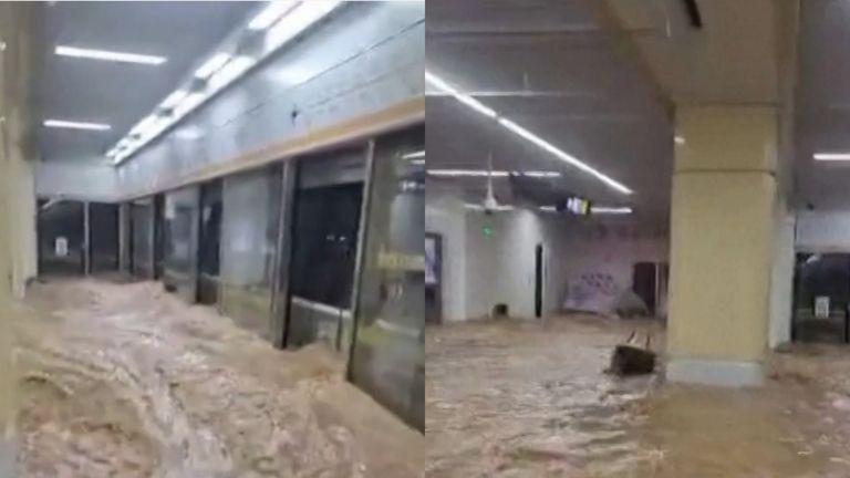 غمرت المياه قطارات ومحطات مترو الأنفاق