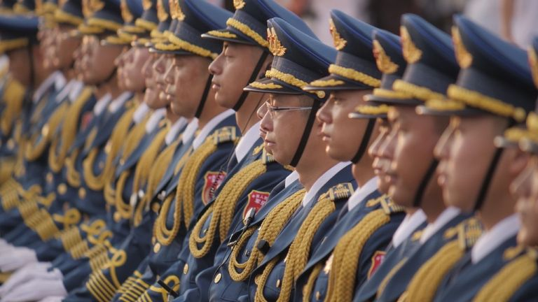 There was a large military presence at Tiananmen Square