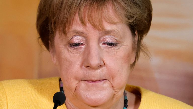 Germany's Chancellor Merkel pauses during a statement on recent deadly floods on recent deadly floods at the German ambassador's residence in Washington Germany's Chancellor Angela Merkel pauses during a statement on recent deadly floods in Germany, at the German ambassador's residence in Washington, U.S. July 15, 2021. REUTERS/Jonathan Ernst