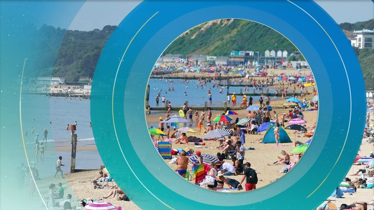 People flock to the beach in Bournemouth, Dorset
