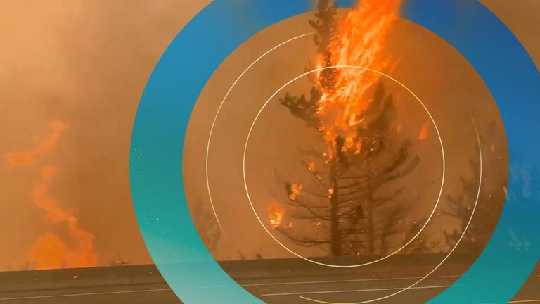 A wildfire has been sparked in Lytton, BC, Canada by an extreme heatwave that reached 49.6C. Pic: 2 RIVERS REMIX SOCIETY / VIMEO.2RMX.CA