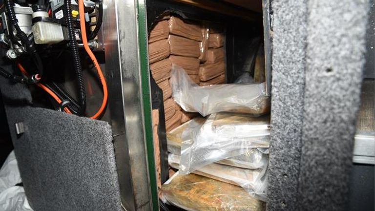 The cocaine was found in a specially constructed wastewater tank