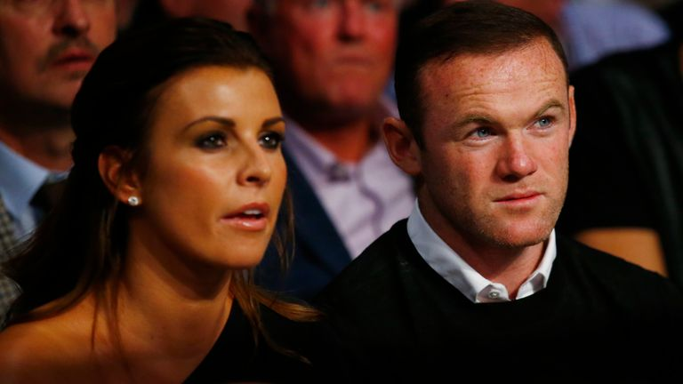 Wayne Rooney and wife Coleen watch the Anthony Crolla v Jorge Linares fight in 2016