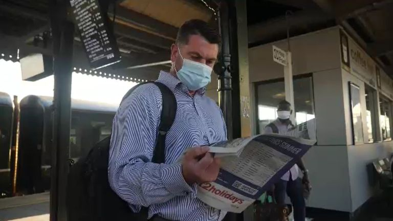 The majority of passengers were wearing face masks despite being told they did not need to