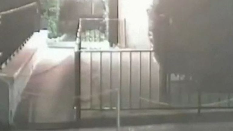 Cuban embassy CCTV shows individual throwing Molotov cocktails at building