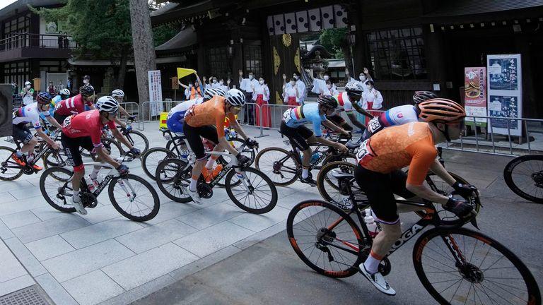 The men's cycling road race at the 2020 Summer Olympics, Saturday, July 24, 2021, in Fuchu, Japan. Pic: AP