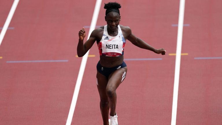 Great Britain's Daryll Neita competes in the Women's 100m heats during the athletics at the Olympic Stadium on the seventh day of the Tokyo 2020 Olympic Games in Japan. Picture date: Friday July 30, 2021.