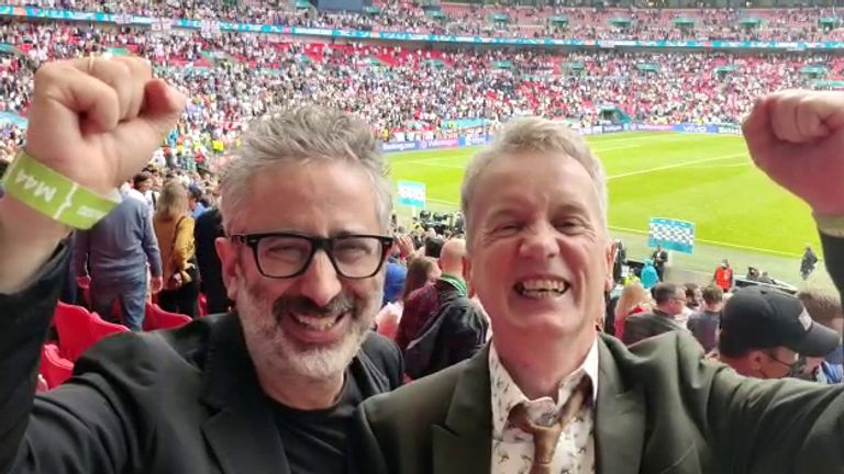 David Baddiel and Frank Skinner have attended several England games during Euro 2020