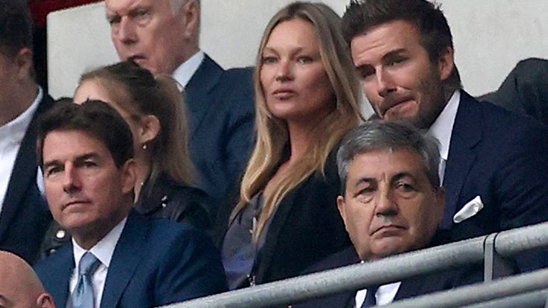 FIFA President Gianni Infantino, US actor Tom Cruise, Portuguese Soccer Federation President Fernando Gomes, former England player David Beckham and former Portugal player Luis Figo on the stands during the Euro 2020 soccer championship final match between England and Italy at Wembley stadium in London, Sunday, July 11, 2021 Pic: AP