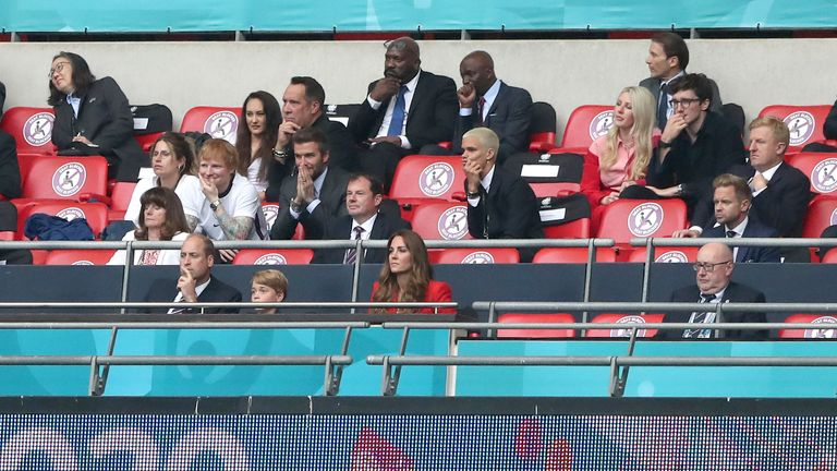 David Beckham, Ed Sheeran, the Duke and Duchess of Cambridge and Ellie Goulding have been in the stands at Wembley