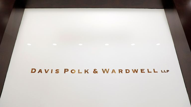The logo of the law firm Davis Polk & Wardwell is seen in their legal offices in New York City, New York, U.S., June 2, 2021