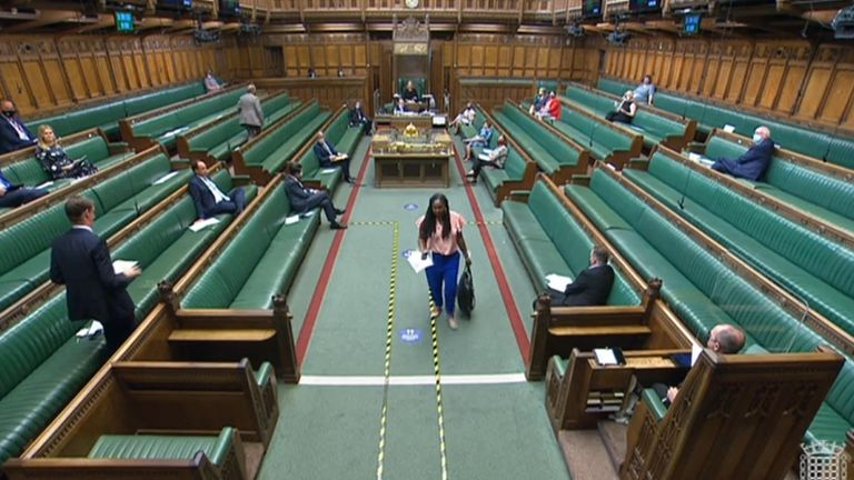 Labour MP Dawn Butler leaves the Commons, she was asked to leave the House of Commons for the remainder of the day after refusing to withdraw claims that Prime Minister Boris Johnson has Òlied to the House and the country over and over againÓ. Picture date: Thursday July 22, 2021.