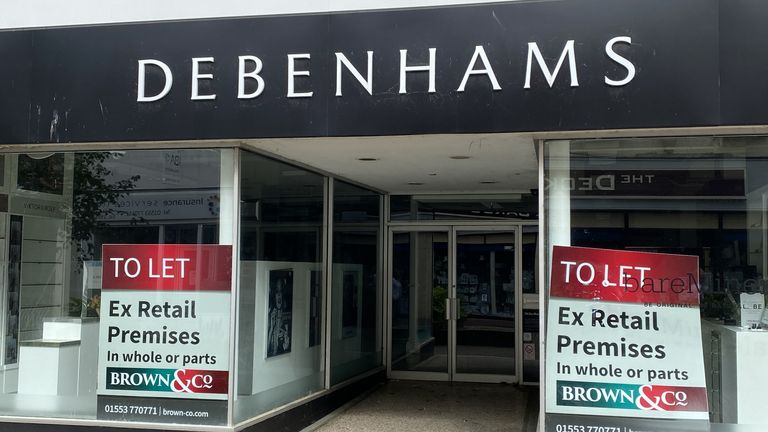 Empty branches of Debenhams in King's Lynn town centre in Norfolk Picture date: Thursday June 24, 2021. Photo credit should read: Martin Keene/PA Wire