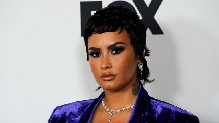 Demi Lovato attends the iHeartRadio Music Awards at the Dolby Theatre on Thursday, May 27, 2021, in Los Angeles. (AP Photo/Chris Pizzello)