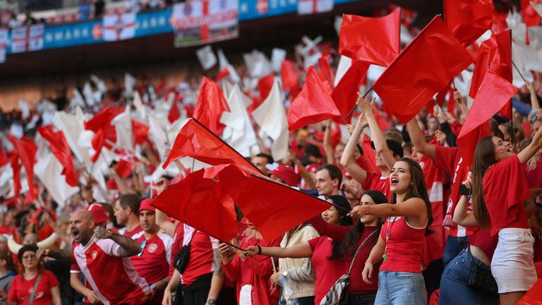 Danish fans were heavily outnumbered due to COVID travel restrictions