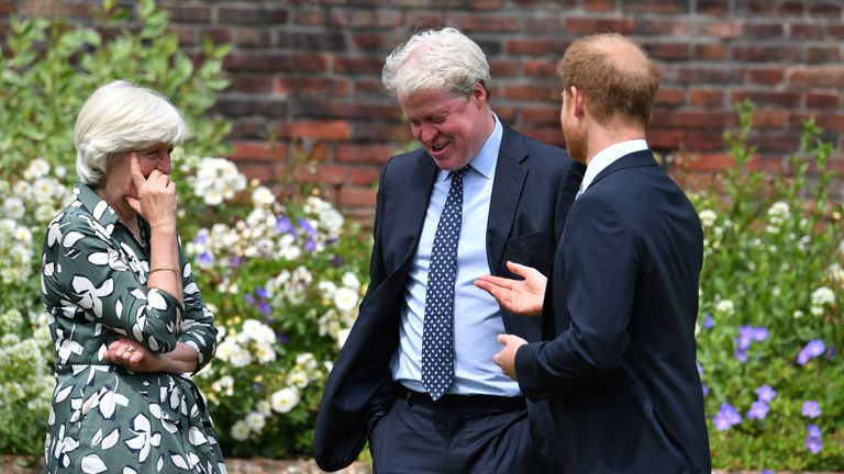 The Duke of Sussex (centre) with his aunt Lady Jane Fellowes and uncle Earl Spencer, at the unveiling of a statue of his mother Diana, Princess of Wales, in the Sunken Garden at Kensington Palace, London, on what would have been her 60th birthday. Picture date: Thursday July 1, 2021.