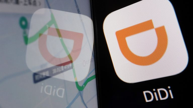 The app logo of Chinese ride-hailing giant Didi is seen reflected on its navigation map displayed on a mobile phone in this illustration picture taken July 1, 2021