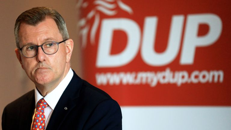 Newly elected Democratic Unionist Party (DUP) leader Sir Jeffrey Donaldson gives a key note speech to party members at the Stormont hotel in east Belfast. Picture date: Thursday July 1, 2021.