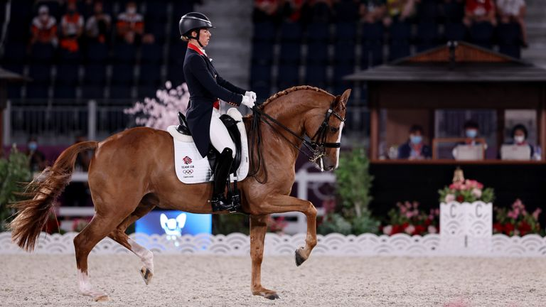 Equestrian - Dressage - Grand Prix Special - Team Tokyo 2020 Olympics - Equestrian - Dressage - Grand Prix Special - Team - Equestrian Park - Tokyo, Japan - July 27, 2021. Charlotte Dujardin of Britain on her horse Gio competes. REUTERS/Alkis Konstantinidis