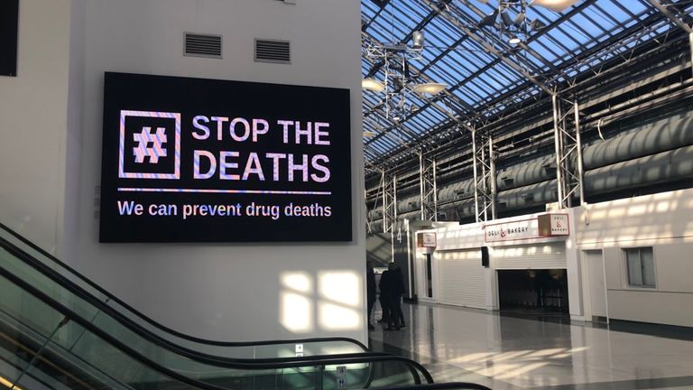 A sign at the Scottish Drugs Conference being held at the Scottish Events Campus (SEC) in Glasgow