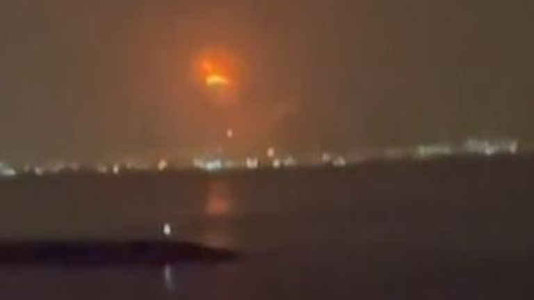 Explosion in Dubai seen from across the water