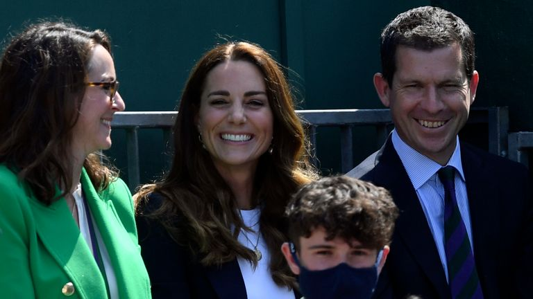 The Duchess of Cambridge sat next to Tim Henman at Wimbledon on Friday. Pic: AP