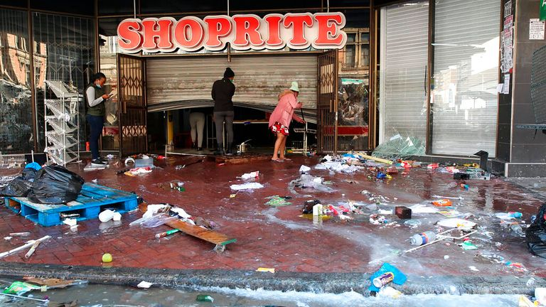The trashed entrance to a supermarket in Durban
