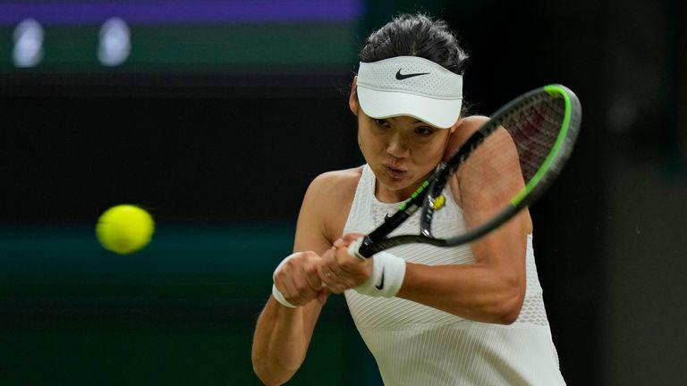 Emma Raducanu in action against Ajla Tomljanovic. Pic: AP