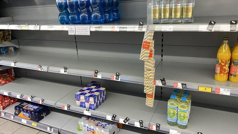 Empty shelves in a Co-op store in July. Twitter: @HapG86